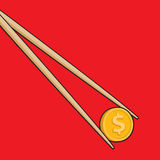 Chopsticks holding coin or money Stock Images