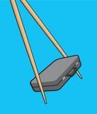 Chopsticks holding a portfolio or asian business Royalty Free Stock Photo