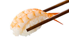 Chopsticks holding sushi Stock Images