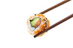 Chopsticks holding sushi roll Royalty Free Stock Photography
