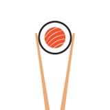 Chopsticks holding sushi roll