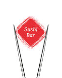 Chopsticks Holding Sushi Roll Frame. Concept illustration of snack, sushi, exotic nutrition, sea food. Template for sushi restaurant, cafe, delivery or your Stock Images