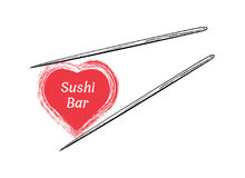 Chopsticks holding sushi roll frame. Concept illustration of snack, sushi, exotic nutrition, sea food. Template for sushi restaurant, cafe, delivery or your Royalty Free Stock Images