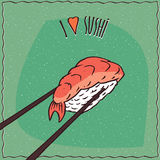 Chopsticks holding sushi roll Nigiri. One pair wooden chopsticks holding delicious sushi roll Nigiri with salmon. Cartoon style. Lettering I Love Sushi. Green Stock Images