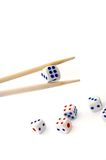 Chopsticks i dices Obraz Royalty Free