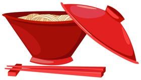 chopsticks jedzenia kluski ilustracja wektor