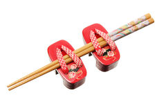 Chopsticks and Miniature Clogs Royalty Free Stock Image