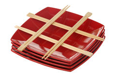 Chopsticks and plates Royalty Free Stock Image