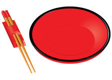 Chopsticks and red plate Stock Images
