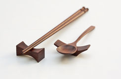 Chopsticks and spoon. The equipment Use of for food Royalty Free Stock Photos