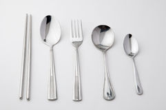 Chopsticks spoon and fork stainless steel royalty free stock photography