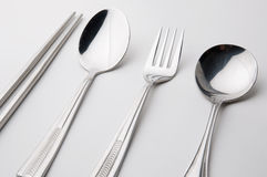 Chopsticks spoon and fork stainless steel Stock Photo