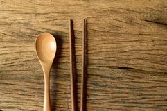 Chopsticks and spoon Stock Photography