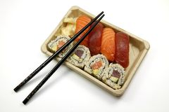 Chopsticks and sushi Royalty Free Stock Image