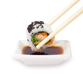 Chopsticks with sushi Royalty Free Stock Photography