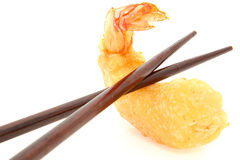 Chopsticks and Tempura Shrimp Stock Images