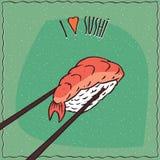 Chopsticks trzyma suszi rolkę Nigiri royalty ilustracja