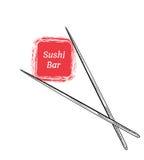 Chopsticks Trzyma suszi rolki ramę ilustracja wektor