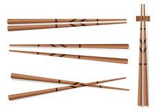 chopsticks Ustawia akcesoria dla suszi Odizolowywającego na Białym Backgrou ilustracji