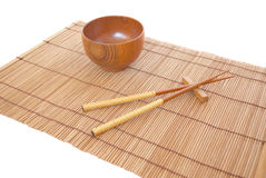 Chopsticks with wooden bowl Stock Images
