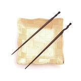 Chopsticks with wooden bowl Royalty Free Stock Photos