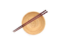 Chopsticks with wooden bowl Royalty Free Stock Images
