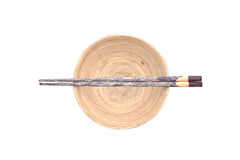 Chopsticks with wooden bowl Royalty Free Stock Photography