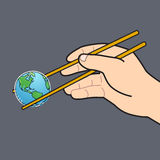 Chopsticks and the world grey background Royalty Free Stock Images
