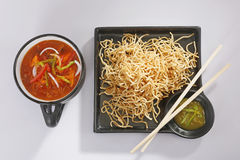 Chopsuey or chop suey on deep-fried noodles Royalty Free Stock Images