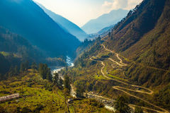 Chopta Valley in North Sikkim, India.  stock photo