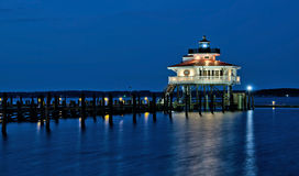Choptank River Lighthouse at night Royalty Free Stock Photo
