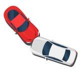 Choque de carro Opinião superior dos carros vermelhos e brancos Vetor liso da cor do estilo Foto de Stock Royalty Free