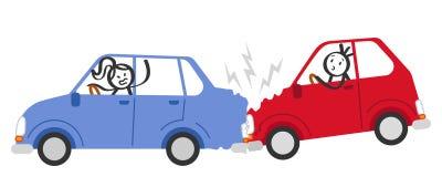 Choque de coche, colisión del final posterior, gente en accidente de tráfico, mujer enojada del palillo que grita en el hombre Imagen de archivo