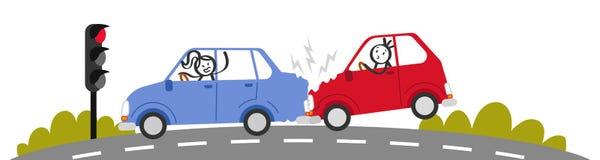 Choque de coche, colisión del final posterior, gente en accidente de tráfico, mujer enojada del palillo que grita en el hombre, s Imagen de archivo libre de regalías