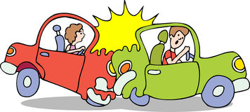 Choque de coche - ningún fondo stock de ilustración