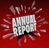 Choque de cristal de la sorpresa de la rotura de las palabras del informe anual Imagen de archivo