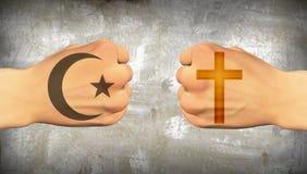 Choque de religiones stock de ilustración