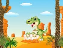 Choque dos dinossauros do dinossauro e do bebê do tiranossauro da mamã dos desenhos animados Imagem de Stock Royalty Free