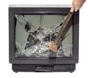Choque el martillo de la pantalla de la TV imagen de archivo