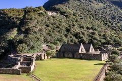 Choquequirao,安第斯山脉,秘鲁印加人站点的废墟  免版税库存图片