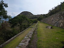 Choquequirao inka ruin in peruvian mountain jungle Stock Photos