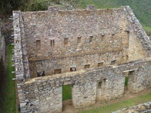 Choquequirao inka ruin in peruvian mountain jungle Royalty Free Stock Photo