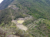 Choquequirao inka ruin in peruvian mountain jungle Stock Photo