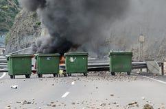 Choques entre los mineros y la policía de alboroto anti Fotos de archivo