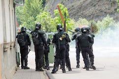 Choques entre los mineros y la policía de alboroto anti Imágenes de archivo libres de regalías