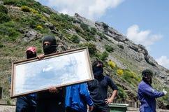 Choques entre los mineros y la policía de alboroto anti Imagenes de archivo