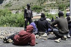 Choques entre los mineros y la policía de alboroto anti Foto de archivo libre de regalías