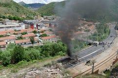 Choques entre los mineros y la policía de alboroto anti Fotografía de archivo libre de regalías