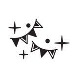 Chorągiewek girland ikona odizolowywająca na białym tle Obrazy Royalty Free