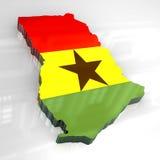 chorągwiana 3d mapa Ghana ilustracji